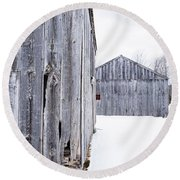 Old New England Barns Winter Round Beach Towel