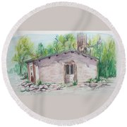 Old New Mexico House Round Beach Towel