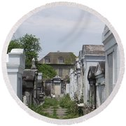 Old New Orleans Cemetery - The Big House  Round Beach Towel