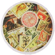 Old New Zealand Stamps Round Beach Towel