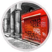 Old Newsstand Closed In Bologna Canvas - Technique Of Selective Color -  Black And White Only Red Round Beach Towel