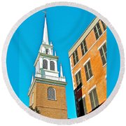 Old North Church Tower In  Boston-massachusetts Round Beach Towel