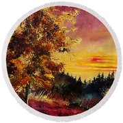 Old Oak At Sunset Round Beach Towel