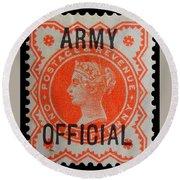 Old Orange Halfpenny Stamp  Round Beach Towel