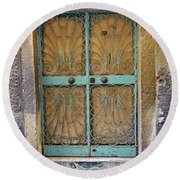 Old Ornate Wrought Iron Door In Venice, Italy  Round Beach Towel