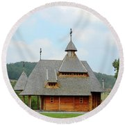 Old Orthodox Wooden Church On Hill Round Beach Towel