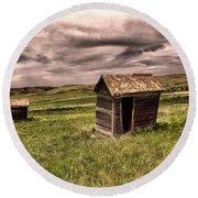 Old Outhouses Round Beach Towel