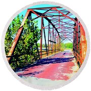 Old Ozark Trail Bridge Round Beach Towel