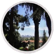 Old Palm Trees And Downtown Los Angeles Round Beach Towel