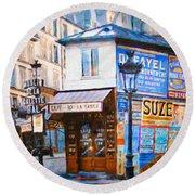 Old Paris Cafe Round Beach Towel