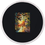 Old Park 3 - Palette Knife Oil Painting On Canvas By Leonid Afremov Round Beach Towel