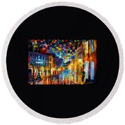 Old Part Of Town - Palette Knife Oil Painting On Canvas By Leonid Afremov Round Beach Towel