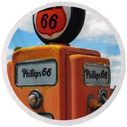Old Phillips 66 Gas Pump Round Beach Towel