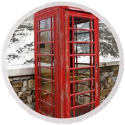 Old Phone Booth Round Beach Towel