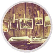 Old Photo Archive Round Beach Towel