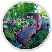 Old Pickup Truck As Flower Bed Round Beach Towel