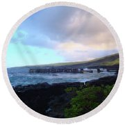 Old Pier At Honuapo Bay Round Beach Towel