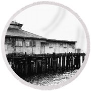 Old Pier Round Beach Towel