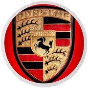 Old Porsche Badge Round Beach Towel