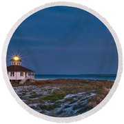 Old Port Boca Grande Lighthouse Round Beach Towel