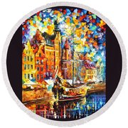 Old Port - Palette Knife Oil Painting On Canvas By Leonid Afremov Round Beach Towel