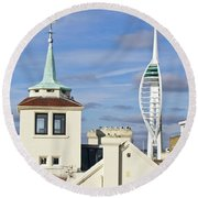 Old Portsmouth's Towers Round Beach Towel