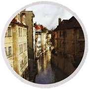 Old Prague Round Beach Towel
