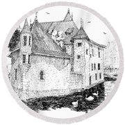 Old Prison Of Annecy France Round Beach Towel