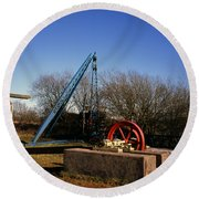 Old Quarry Machinery Winter Day Tegg's Nose Country Park Macclesfield Cheshire England Round Beach Towel