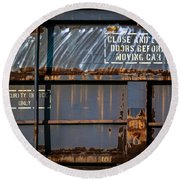 Old Railroad Boxcar  Round Beach Towel