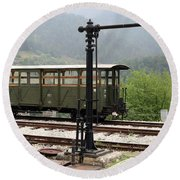 Old Railway Station With Wooden Wagon Round Beach Towel