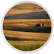 Old Ranch Buildings In Alberta Round Beach Towel