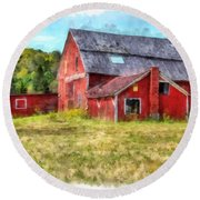 Old Red Barn Abandoned Farm Vermont Round Beach Towel