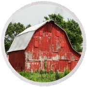Old Red Barn Johnson County Ia Round Beach Towel