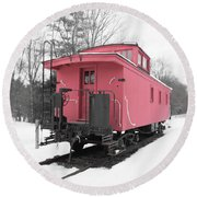 Old Red Caboose Square Round Beach Towel