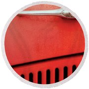 Old Red Car Round Beach Towel