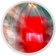 Old Red Door Abstract Round Beach Towel