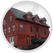 Old Red House In Shelburne Falls Round Beach Towel