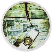 Old Retro Film Camera In Creative Composition Round Beach Towel