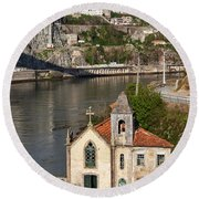 Old Riverside Church In Portugal Round Beach Towel