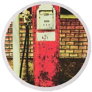 Old Roadhouse Gas Station Round Beach Towel