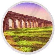 Old Roman Aqueduct Round Beach Towel