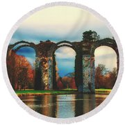 Old Roman Aqueduct Round Beach Towel