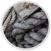 Old Ropes On Dock Round Beach Towel