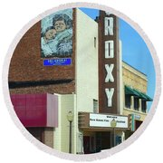 Old Roxy Theater In Muskogee, Oklahoma Round Beach Towel