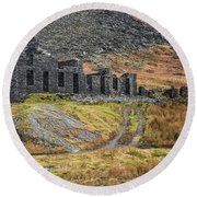 Old Ruin At Cwmorthin Round Beach Towel