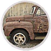 Old Rust Truck Round Beach Towel