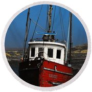Old Rustic Red Fishing Boat Round Beach Towel