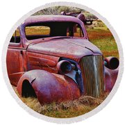 Old Rusty Car Bodie Ghost Town Round Beach Towel by Garry Gay