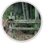 Old Rusty Wagon Wheels And Weathered Fence Round Beach Towel